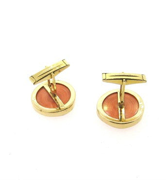 image of Large Coral 14K Gold Cufflinks