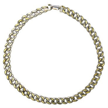 image of Gurhan Sterling Silver 24k Gold Oval Link Chain Necklace