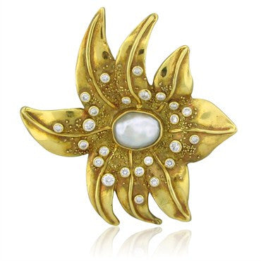 image of Impressive Elizabeth Gage 18K Gold 2.0ctw Diamond Peart Brooch Pin