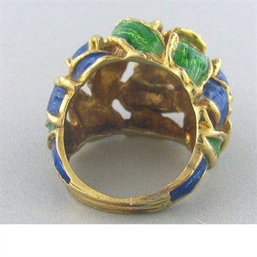 image of Tiffany & Co 18k Gold Blue Green Enamel Dome Ring