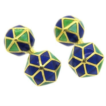 thumbnail image of Longchamp 18k Gold Blue and Green Enamel Cufflinks