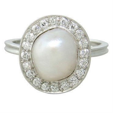 image of Antique Pearl Diamond Platinum Ring