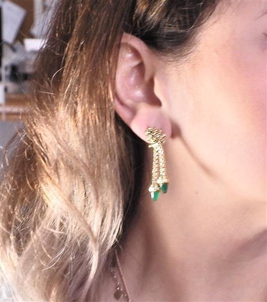 thumbnail image of Mid Century Green Agate Gold Dangle Earrings