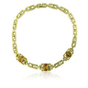 image of Kieselstein Cord 18K Gold Citrine Diamond Necklace