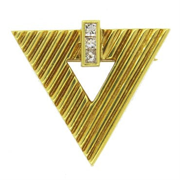 image of 1970s Tiffany & Co Geometric 18k Gold Diamond Brooch Pin