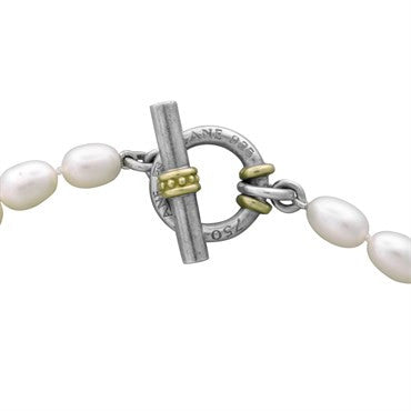 image of Slane & Slane 18K Gold Sterling Silver Pearl Toggle Necklace