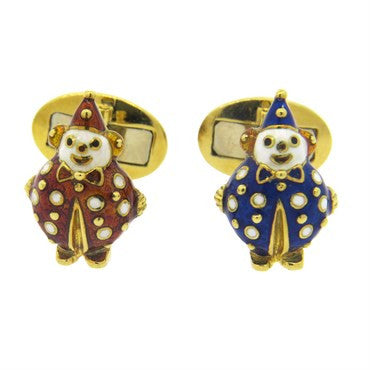 image of Hidalgo Enamel Gold Clown Cufflinks