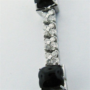 thumbnail image of Estate Roberta Porrati 18k Gold Diamond Onyx Necklace