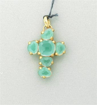 thumbnail image of New Pomellato Capri 18k Gold Chrysoprase Quartz Cross Pendant