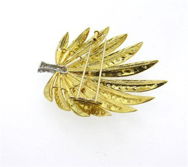 thumbnail image of Impressive 2.00ctw Diamond 18k Gold Platinum Leaf Brooch