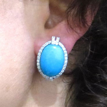 thumbnail image of Turquoise 1.20ctw Diamond 18k Gold Oval Earrings