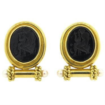 thumbnail image of Elizabeth Locke Onyx Intaglio Pearl Gold Earrings