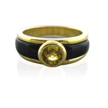 image of New Gumuchian 18K Gold Ring With Black Onyx And Yellow Sapphire
