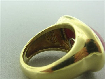 thumbnail image of Estate Tambetti 18K Yellow Gold Coral Cabochon Ring