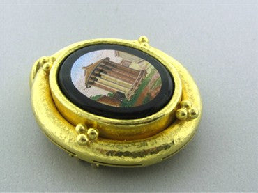 thumbnail image of Elizabeth Locke One Of A Kind 19K Yellow Gold Micro Mosaic Brooch Pin