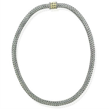 image of John Hardy Dots Sterling Silver 18K Gold Woven Chain Necklace