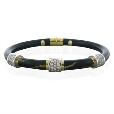 image of Estate Soho 18K Gold Black Enamel Diamond Bangle Bracelet