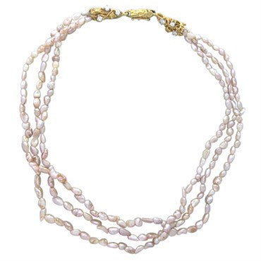 image of Arthur King 18k Gold Pearl Diamond Multi Strand Choker Necklace