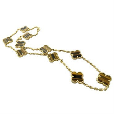 thumbnail image of Van Cleef & Arpels Vintage Alhambra Gold Tiger's Eye Necklace
