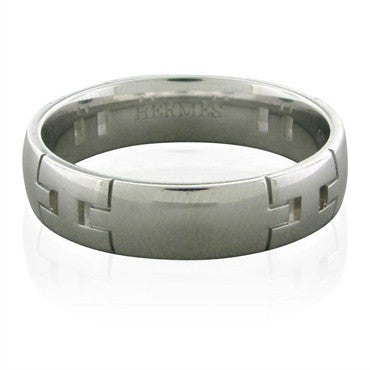 image of Hermes 18K White Gold H Logo Wedding Band Ring Size 63