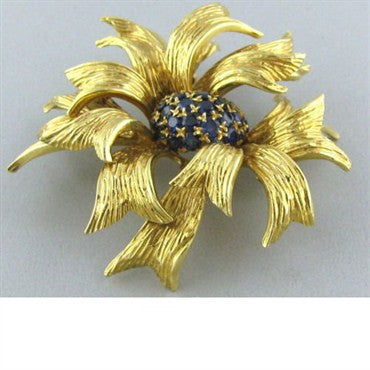 thumbnail image of Tiffany & Co Vintage 1970s 18k Gold Sapphire Brooch Pin