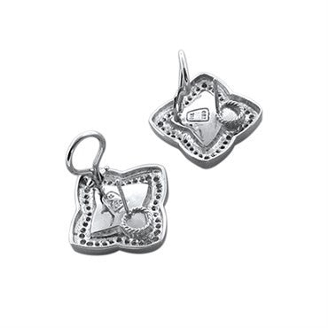 thumbnail image of David Yurman 18K White Gold Diamond Quatrefoil Chalcedony Earrings