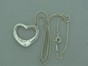 image of Estate Tiffany & Co Peretti Sterling Open Heart Pendant Chain Necklace