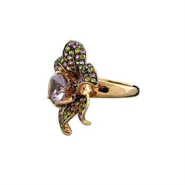 thumbnail image of New Levian Le Vian 14K Rose Gold Amethyst Multi Color Sapphire Flower Ring