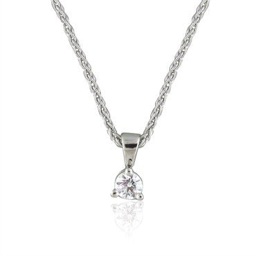 thumbnail image of Hearts On Fire Three Prong Solitaire Platinum Diamond Pendant Necklace