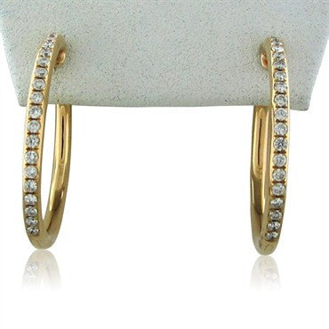 image of Faraone Mennella 18K Rose Gold Diamond Hoop Earrings