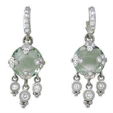 image of Judith Ripka 18k Gold Diamond Quartz Drop Earrings