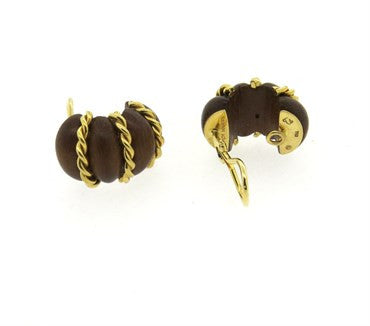 thumbnail image of Seaman Schepps 18k Gold Wood Shrimp Earrings