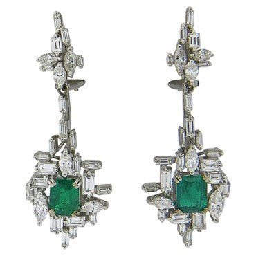 thumbnail image of 1970s H. Stern 2.00ctw Emerald 1.60ctw Diamond 18k Gold Drop Earrings