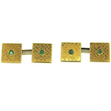 image of Mid Century Emerald 18k Gold Square Cufflinks