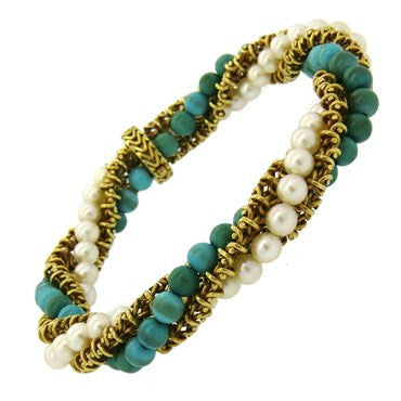 image of 1960s Pearl Turquoise 18k Gold Bracelet