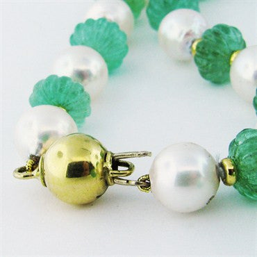 thumbnail image of Estate Seaman Schepps 18k Gold Emerald Pearl Necklace