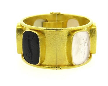 image of Elizabeth Locke Stone Intaglio Gold Bangle Bracelet