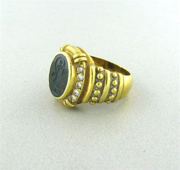thumbnail image of Judith Ripka 18K Gold Diamond Bloodstone Intaglio Ring