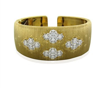 image of Buccellati 18k Yellow Gold 1.00ctw Diamond Cuff Bracelet