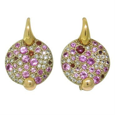 image of Pomellato Sabbia 18k Gold Diamond Pink Sapphire Earrings