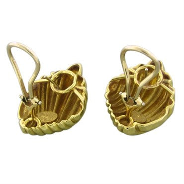 image of Henry Dunay 18K Yellow Gold Hammered Finish Earrings