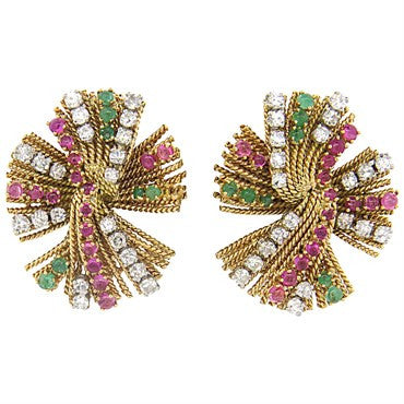 image of 1950s Gold Diamond Ruby Emerald Earrings