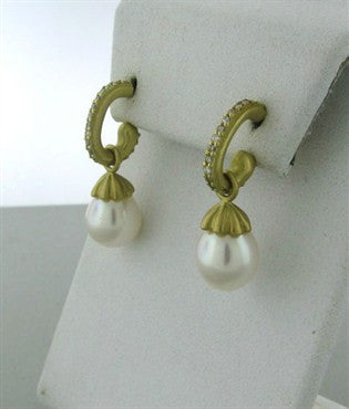 thumbnail image of Slane & Slane 18K Yellow Gold Diamond 10mm Pearl Drop Earrings