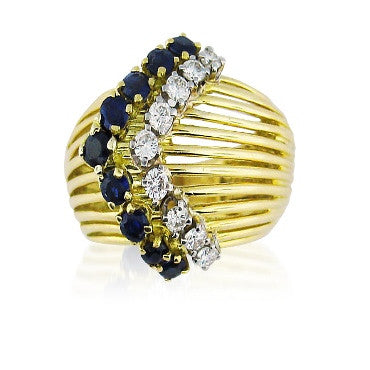 image of Vintage Tiffany & Co 18k Gold Diamond Sapphire Ring