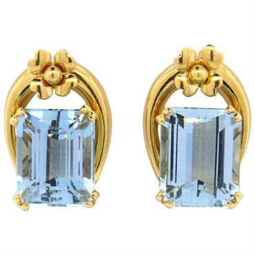 image of Mid Century Aquamarine 18k Gold Earrings