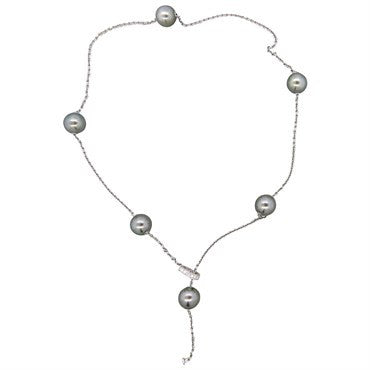 image of Mikimoto Pearls In Motion 18k Gold Diamond Tahitian Pearl Necklace