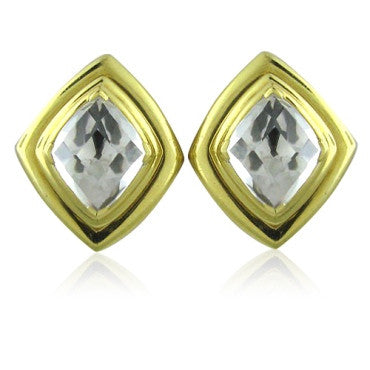 image of Estate David Webb 18k Gold Crystal Earrings