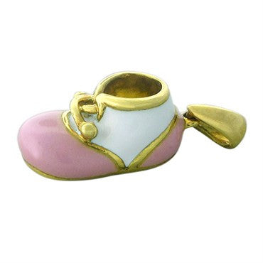 thumbnail image of Felix Vollman 18k Gold Pink and White Enamel Baby Shoe Charm Pendant
