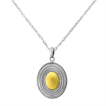 thumbnail image of New Gurhan 24K Gold Sterling Silver Oval Pendant Chain Necklace