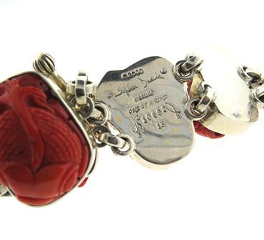 image of Chunky Stephen Dweck One of a Kind Carved Coral Fish Sterling Bracelet